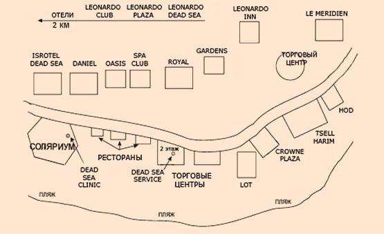 Перечень процедур базового курса лечения.  ДИАГНОЗ.  Схема расположения гостиниц Мертвого моря. ожирение).